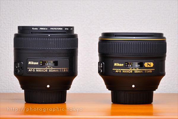 AF-S NIKKOR 85mm F1.8 GとAF-S NIKKOR 58mm f/1.4G