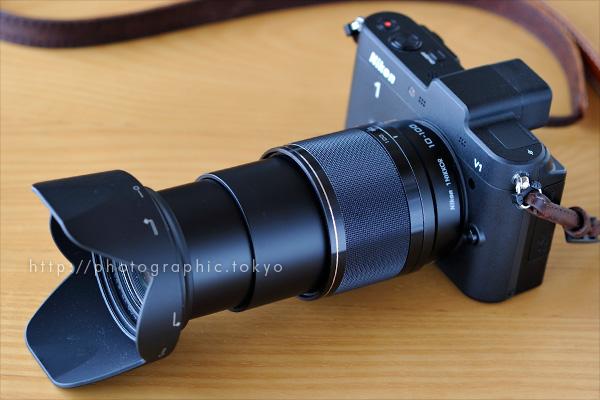 ニコン 1 NIKKOR VR 10-100mm f/4-5.6+Nikon 1 V1 外観延伸状態