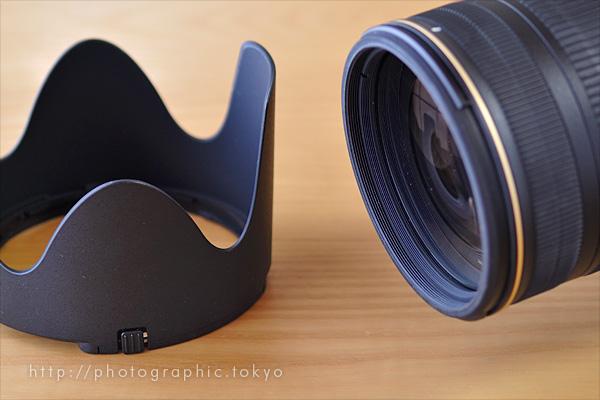 レンズフードHB-48とAF-S NIKKOR 70-200mm f/2.8G ED VR II前玉