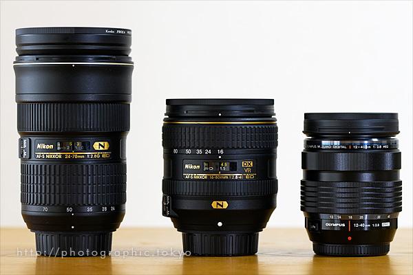 レンズ3本サイズ比較イメージ