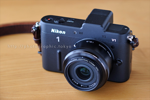 1 NIKKOR 18.5mm f/1.8 + Nikon 1 V1に装着