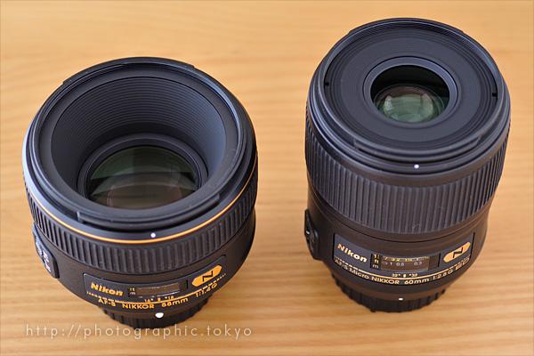 AF-S NIKKOR 58mm f/1.4G と AF-S Micro NIKKOR 60mm f/2.8G ED