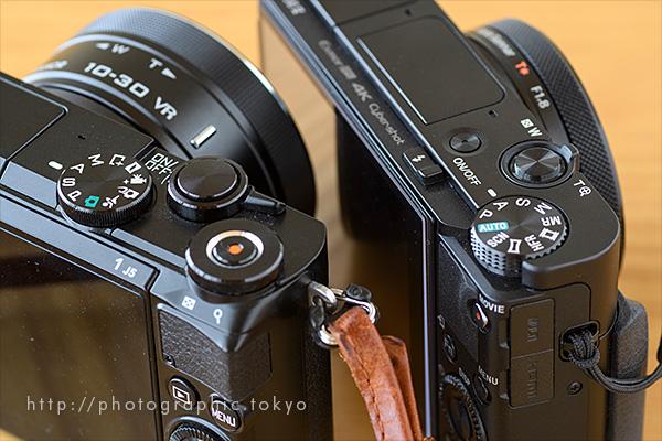 RX100M5とNikon 1 J5操作部比較